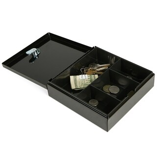 Mind Reader Cash Box Safe with Money Tray and Carrying Handle, Heavy Duty, Portable and Secure, Black