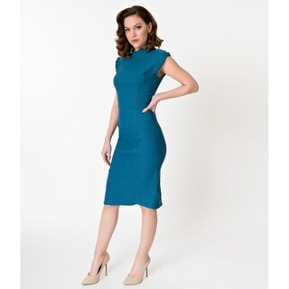 Unique Vintage Teal Laverne Wiggle Dress
