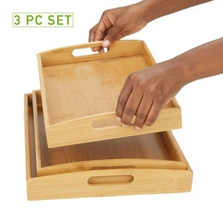 Mind Reader Set of 3 Serving Trays with Cut Out Handles Bamboo Environment Friendly Rectangular, Brown