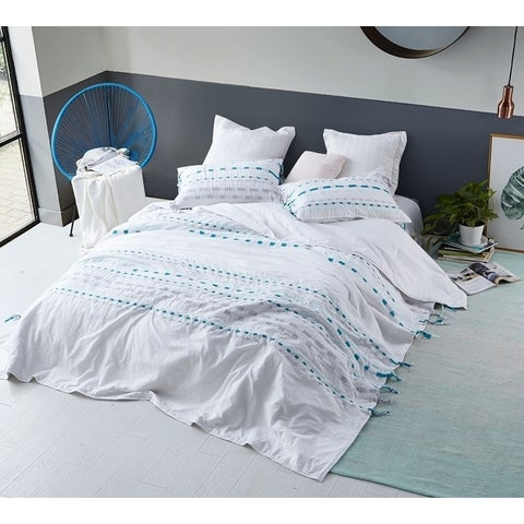 BYB Threads Textured Oversized Comforter - Gray/Teal