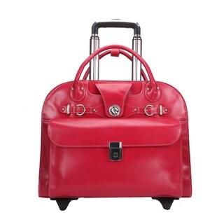 """McKlein USA Edgebrook 15"""" Leather Wheeled Ladies' Laptop Briefcase"""