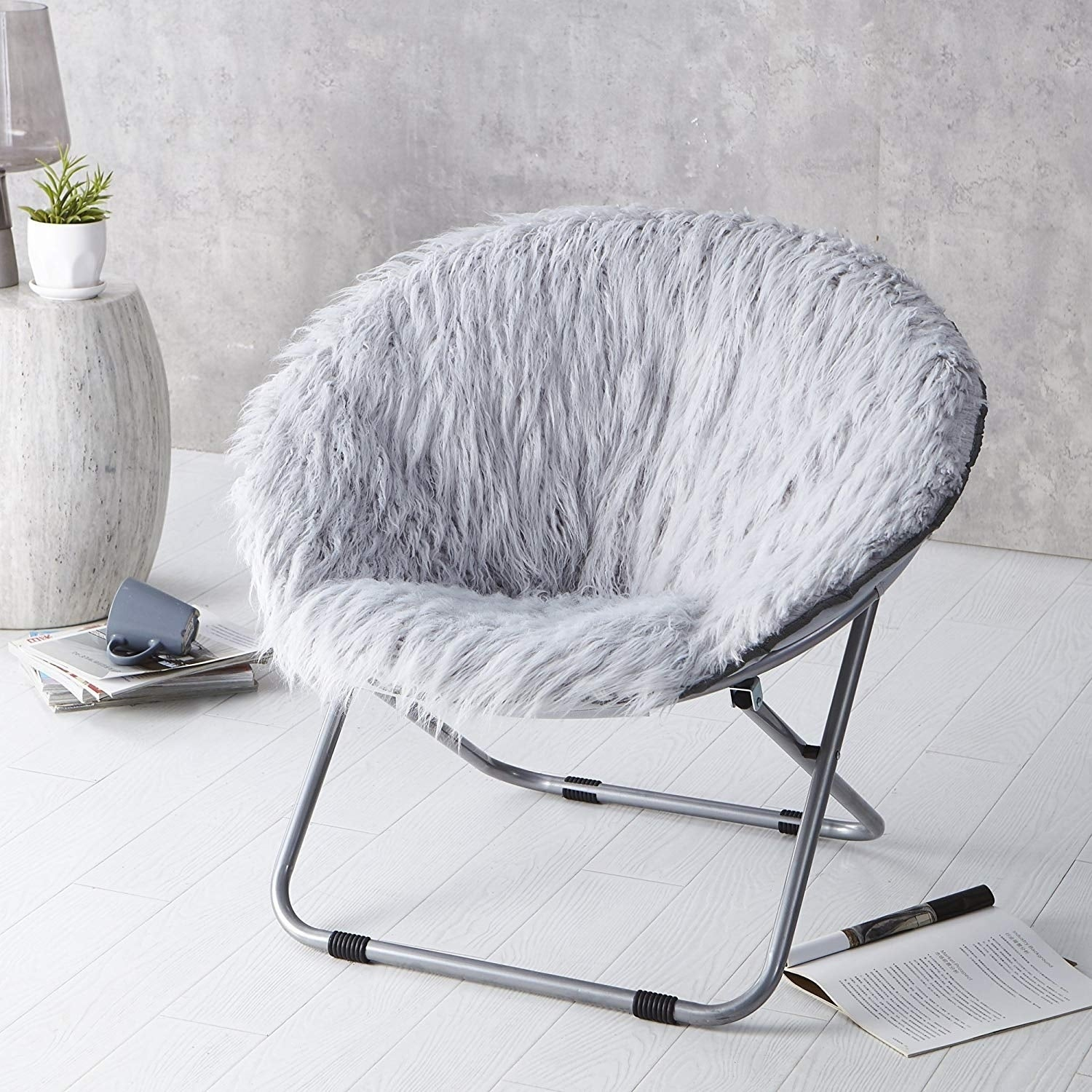 Faux Fur Moon Chair Glacier Gray Overstock 22464412