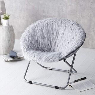 Faux Fur Moon Chair - Glacier Gray