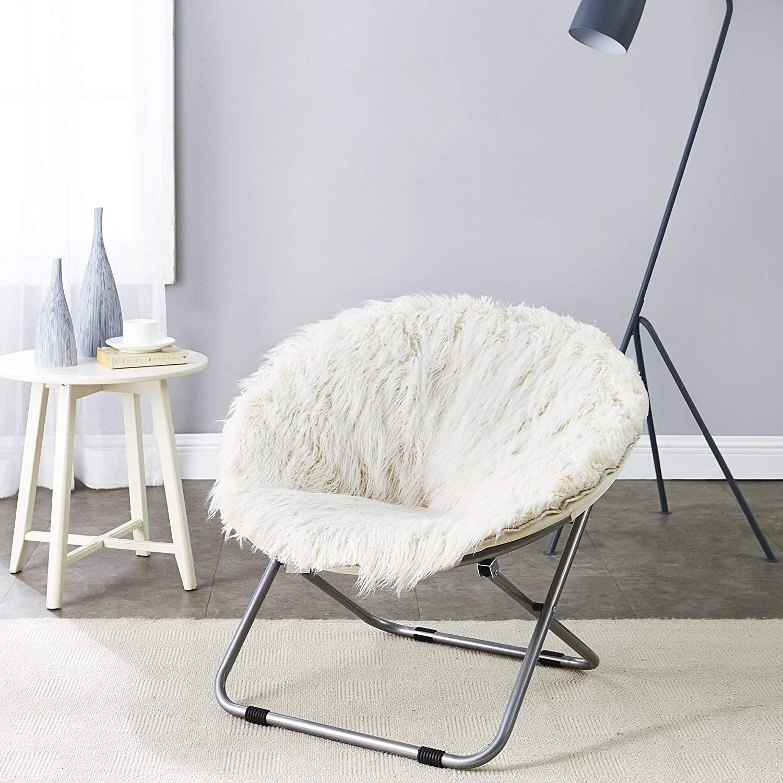 Shop Faux Fur Moon Chair Polar White Overstock 22464413