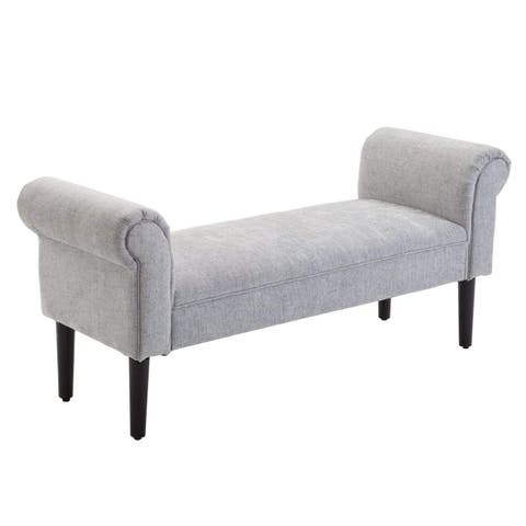 """HomCom 52"""" Linen Upholstered Vanity Accent Ottoman Bench With Armrests - Light Grey"""