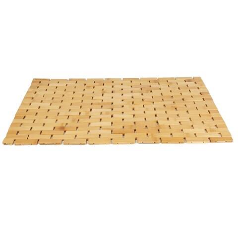 Mind Reader Luxury Roll Up Shower Bath Mat, Anti-Slip Mat, Environment Friendly Bamboo, Brown