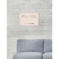 Oliver Gal 'Couture Road Sign Rococo Gold Blush' Pink Fashion Gallery Wrapped Canvas Art