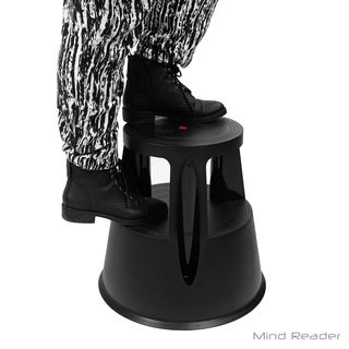 Mind Reader Tall Step Stool Rolling Non-Skid with Rubber Stepstool, Steady Stable Booster, Black