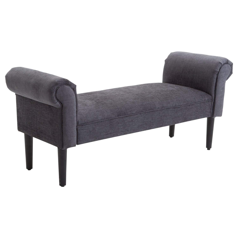 HomCom 52 Linen Upholstered Vanity Accent Ottoman Bench With Armrests - Dark Grey