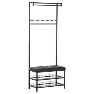 "HomCom 81"" Tall Adjustable Two-Tier Faux Leather Ottoman Bench Shoe Shelf Coat Rack - Black"