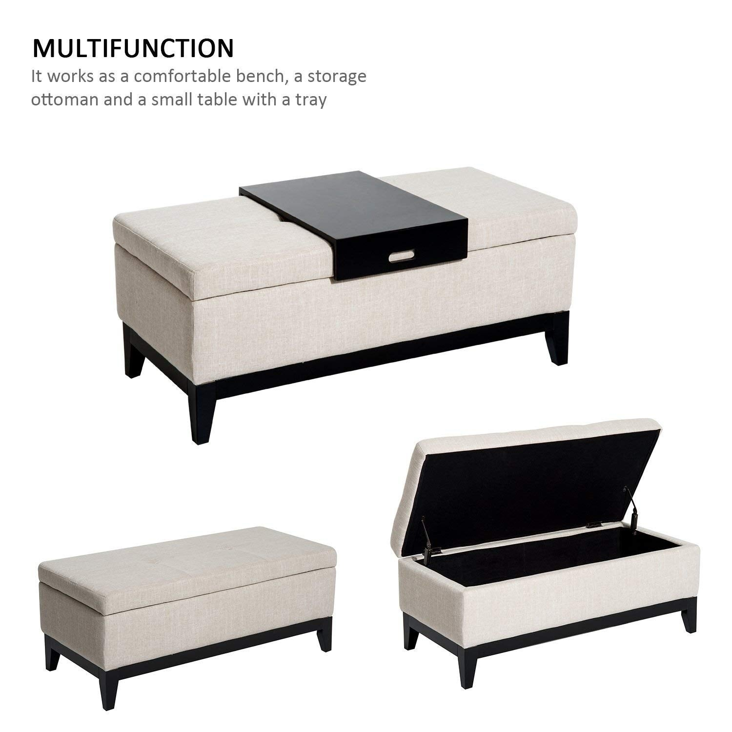 Admirable Homcom 42 Rectangular Linen Fabric Storage Ottoman Bench With Tray Cream White Gmtry Best Dining Table And Chair Ideas Images Gmtryco