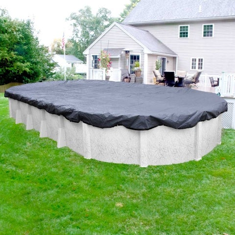 Pool Mate Commercial-Grade Slate Blue Winter Cover for Oval Above-Ground Swimming Pools