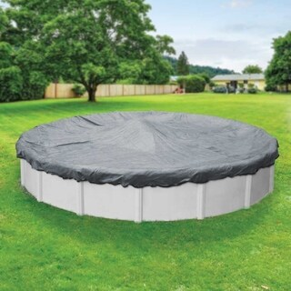 Pool Mate Gray/Black Mesh Winter Cover for Round Above-Ground Swimming Pools