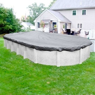 Pool Mate Gray/Black Mesh Winter Cover for Oval Above-Ground Swimming Pools