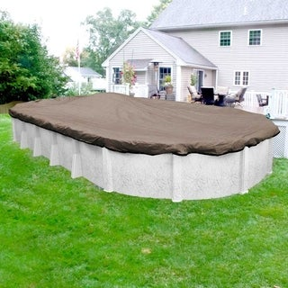 Pool Mate Extreme-Mesh Taupe Winter Cover for Oval Above-Ground Swimming Pools