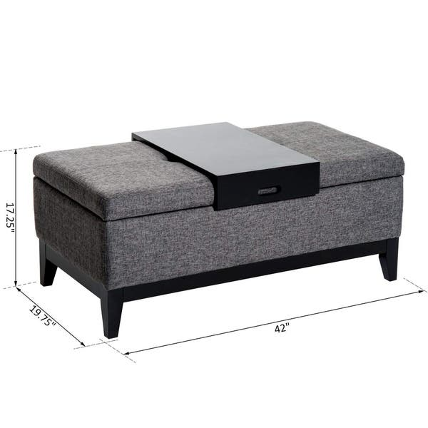 Pleasing Shop Homcom 42 Rectangular Linen Fabric Storage Ottoman Gmtry Best Dining Table And Chair Ideas Images Gmtryco