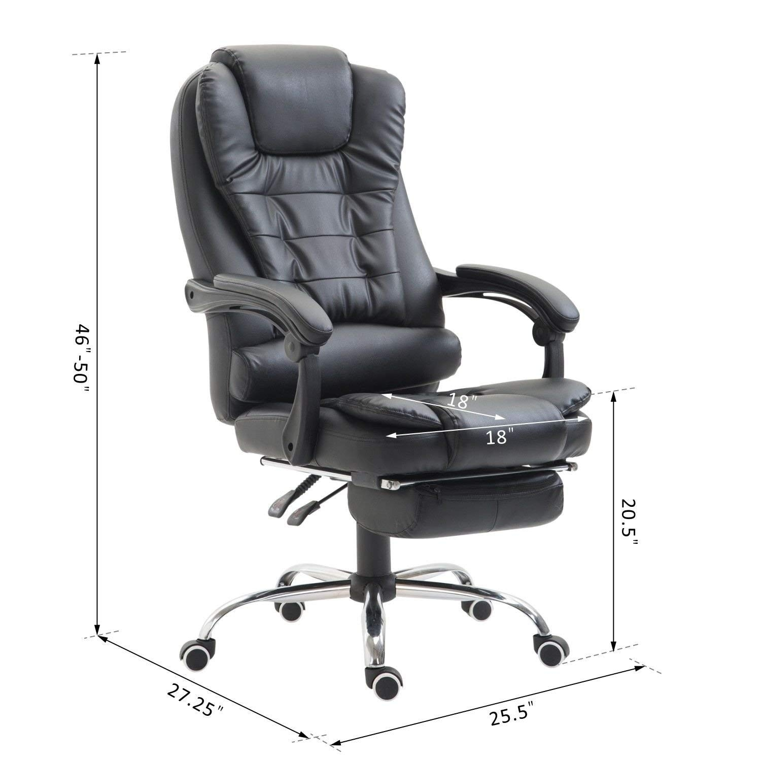 cheaper 921f9 64289 HomCom High Back Reclining PU Leather Executive Home Office Chair With  Retractable Footrest - Black