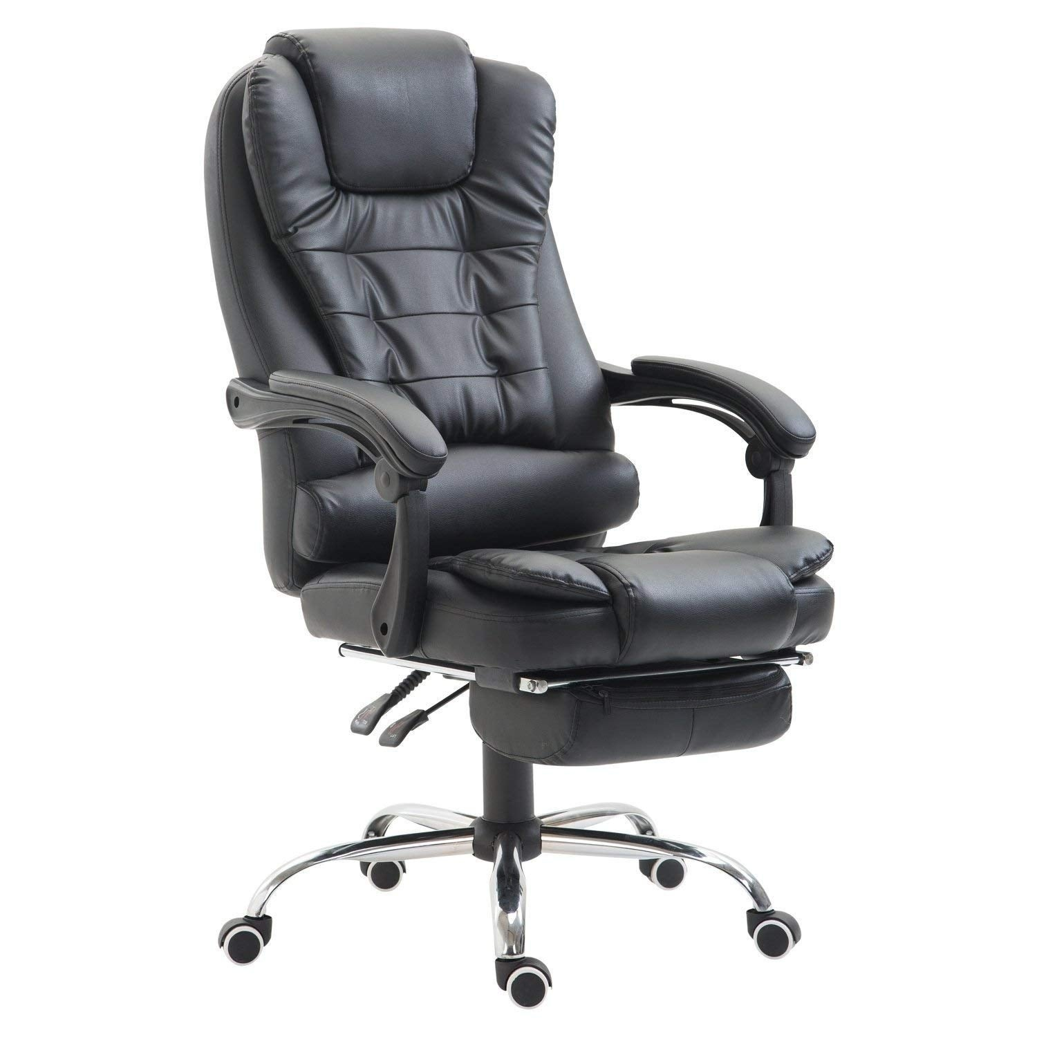 HomCom High Back Reclining PU Leather Executive Home Office Chair With Retractable Footrest - Black (High Back)