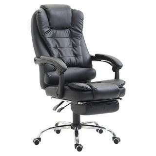 HomCom High Back Reclining PU Leather Executive Home Office Chair With Retractable Footrest - Black
