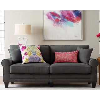 Truly Home Whitney Grey Fabric Upholstered Hardwood Contemporary 78-inch Sofa