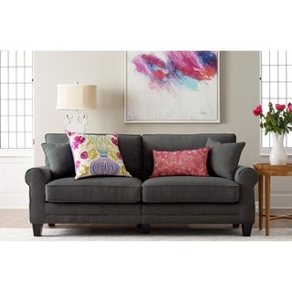 Truly Home Whitney Grey Fabric Foam Cushioned Contemporary Sofa