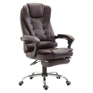 HomCom High Back Reclining PU Leather Executive Home Office Chair With Retractable Footrest - Dark Brown