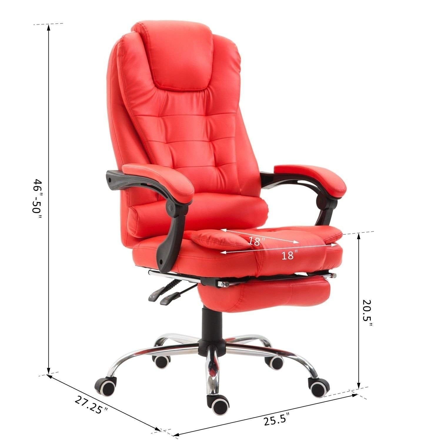 Prime Homcom High Back Reclining Pu Leather Executive Home Office Chair With Retractable Footrest Red Dailytribune Chair Design For Home Dailytribuneorg