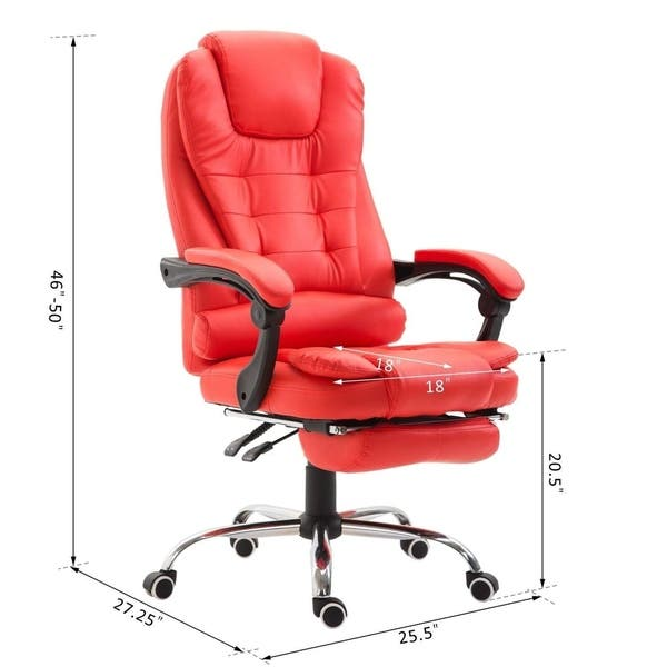 Shop Homcom Reclining Pu Leather Executive Home Office Chair With Comfortable Faux Leather Extendable Footrest Red On Sale Overstock 22465449