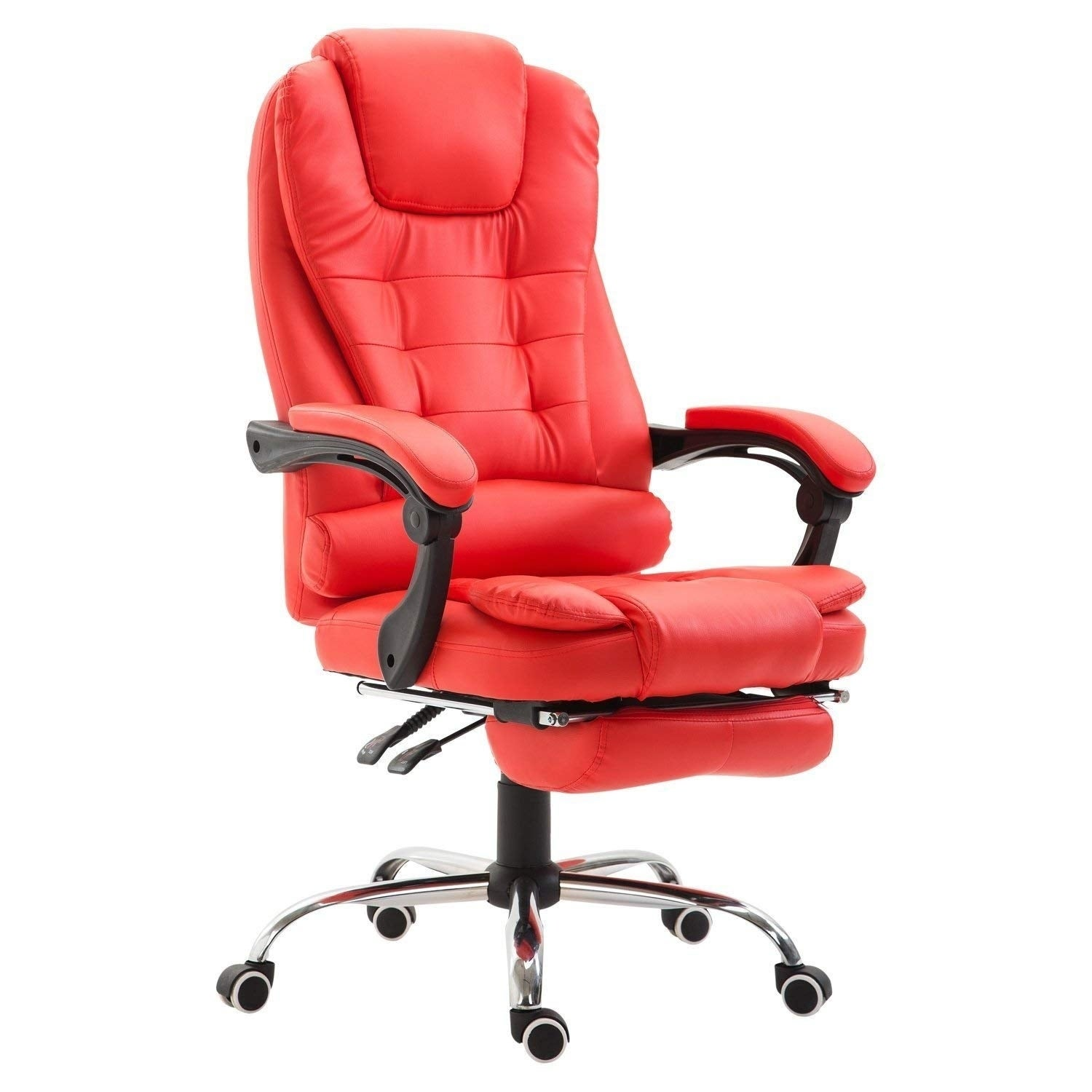HomCom High Back Reclining PU Leather Executive Home Office Chair With Retractable Footrest - Red (High Back)