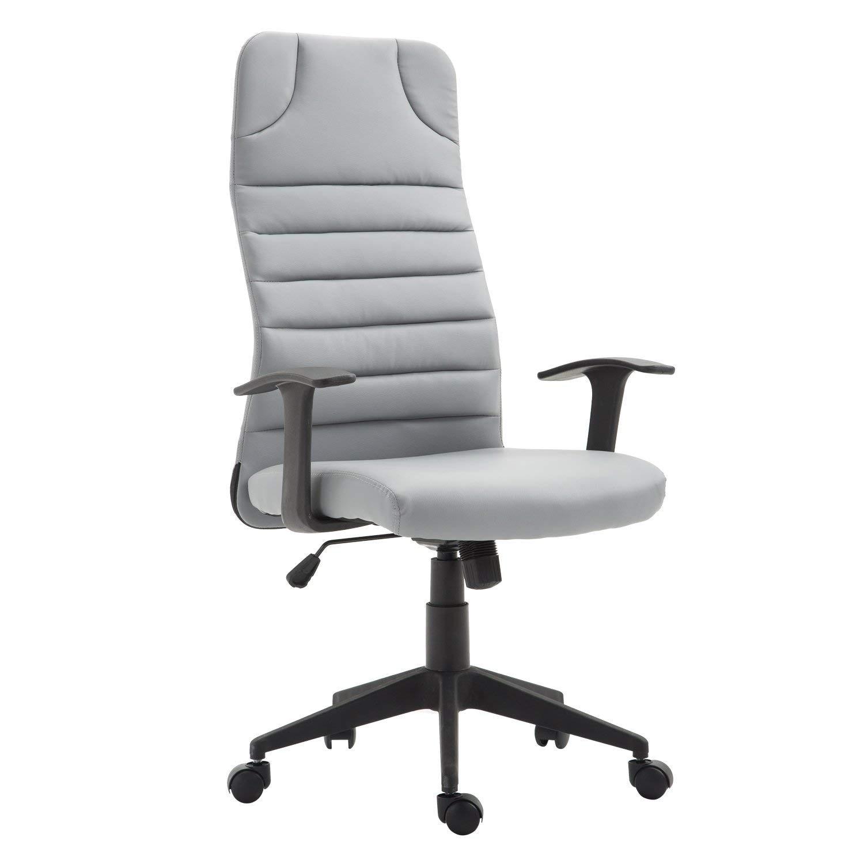 HomCom Ergonomic Desktop Computer Chair with Lumbar Support and Arms - Grey (High Back)