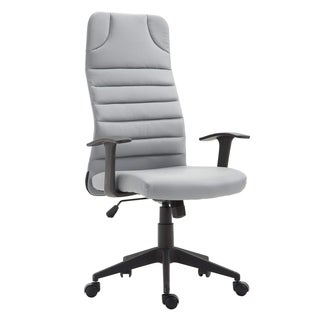 HomCom Ergonomic Desktop Computer Chair with Lumbar Support and Arms - Grey - N/A
