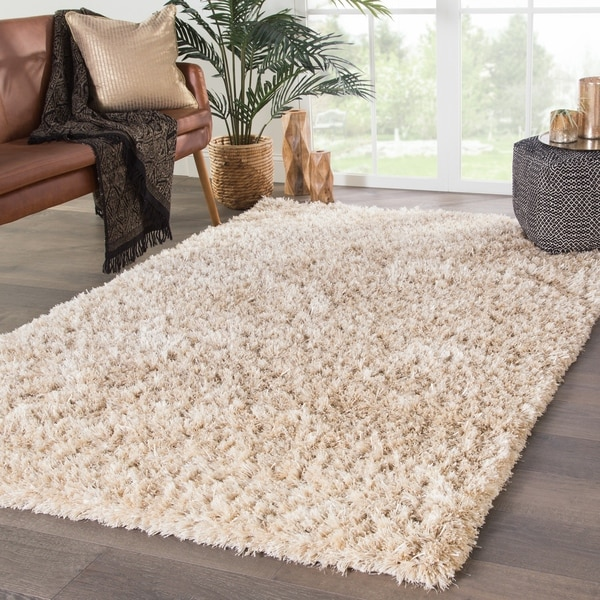 """Axel Shag Solid Ivory/ Gold Area Rug - 7'10"""" x 9'10"""""""