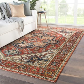"Revere Hand-Knotted Medallion Red/ Multicolor Area Rug - 7'9"" x 9'9"""