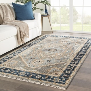 Arlington Hand-Knotted Medallion Gray/ Brown Area Rug - 2' x 3'