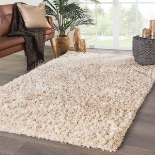 Axel Shag Solid Ivory/ Gold Area Rug - 2' x 3'