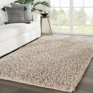 Axel Shag Solid Taupe Area Rug - 2' x 3'