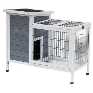 "Pawhut 36"" Wooden Outdoor Rabbit Hutch Elevated Bunny Cage with Enclosed Run"