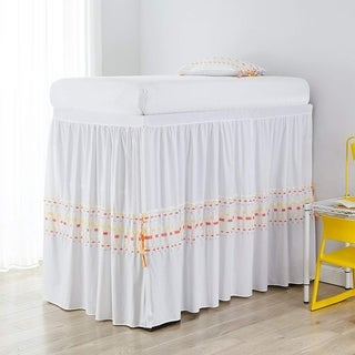 Threads Bed Skirt Panel with Ties - Gray/Yellow (3 Panel Set)