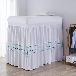 Threads Bed Skirt Panel with Ties - Gray/Teal (3 Panel Set)