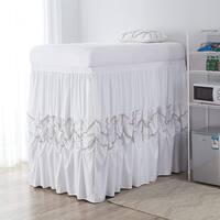 Alexandra Bed Skirt Panel with Ties - White (3 Panel Set)