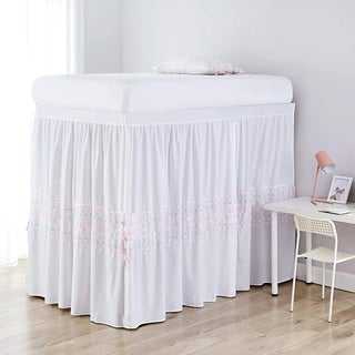 Threads Bed Skirt Panel with Ties - Gray/Pink (3 Panel Set)