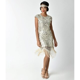 Unique Vintage Cream & Silver Lucie Fringe Flapper Dress
