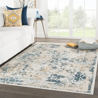 Nuala Floral Light Gray/ Blue Area Rug - 10' x 14'