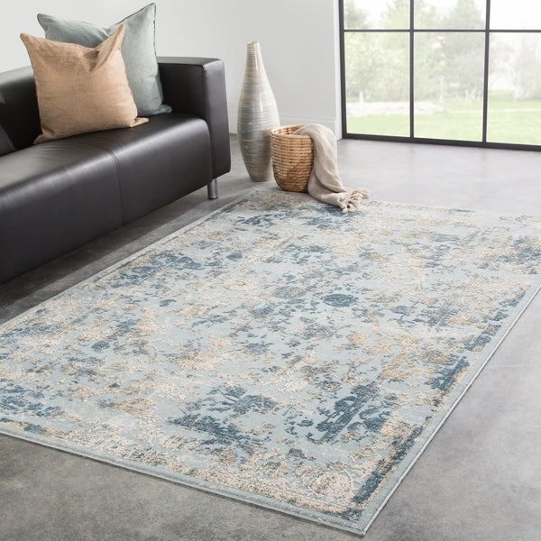 Nuala Floral Blue/ Gold Area Rug - 10' x 14'