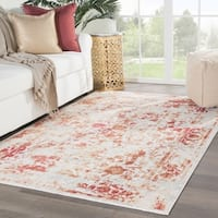"Nuala Floral Red/ Light Gray Area Rug - 8'10""x11'9"""