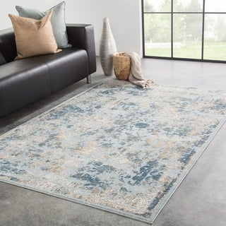 "Nuala Floral Blue/ Gold Area Rug - 7'6"" x 9'6"""