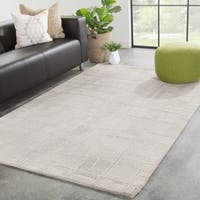 Juniper Home Macon Light Grey/Ivory Wool/Viscose Handmade Trellis Area Rug - 8' x 11'