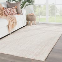Juniper Home Clancy Solid Orange/Ivory Viscose and Wool Handmade Area Rug - 8' x 11'