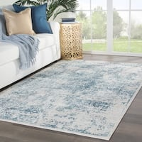 Laureate Medallion Light Gray/ Blue Area Rug - 9' x 12'