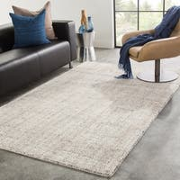 Clancy Handmade Solid Gray/ Ivory Area Rug - 8' x 11'